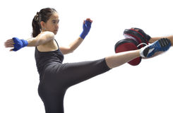 Woman practicing thai boxing Royalty Free Stock Photography