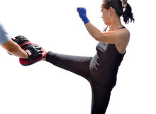 Woman practicing Thai boxing. Technique.(muay Thai Stock Images