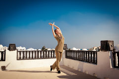 Woman practicing yoga dancing Royalty Free Stock Images