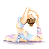 Woman is practicing yoga exercises. Watercolor image Royalty Free Stock Photos