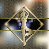 Woman practicing yoga with gold background stock photography
