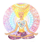 Woman practicing yoga. Hand drawn woman sitting in lotus pose of yoga on mandala background. vector illustration