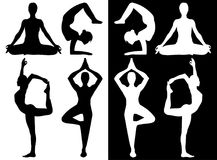 Woman practicing yoga icons vector illustration
