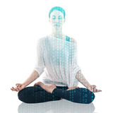 Woman practicing yoga in the lotus position Stock Photography