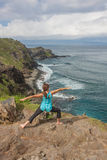 Woman Practicing Yoga on the Maui Coast Stock Images