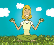 Woman practicing yoga outdoors getting in touch with nature Stock Photography