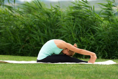 Woman practicing yoga in the park Royalty Free Stock Image