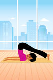 Cartoon Yoga Girl Royalty Free Stock Image