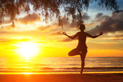 Woman practicing yoga on the sea beach at sunset. Stock Images
