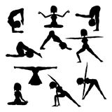 Woman practicing yoga  silhouette collection Stock Images