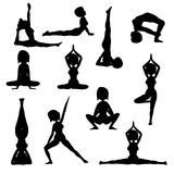 Woman practicing yoga  silhouette collection Royalty Free Stock Photos