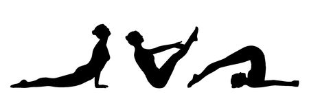Woman practicing yoga silhouettes set 4 Stock Photo