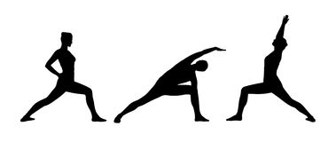 Woman practicing yoga silhouettes set 3 Royalty Free Stock Photos