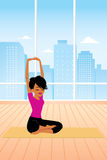 Yoga cartoon. One illustration of a series, representing a Woman practicing a yoga pose in the gym. There are other illustrations in this series with this Stock Photography