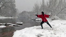 Woman Practicing Yoga in Snow stock video