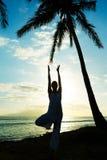 Woman Practicing Yoga at Sunset Stock Photos
