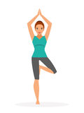 Woman practicing yoga. Vector illustration, flat style Stock Photography