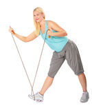 Woman practises with skipping rope Stock Photography