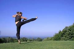 Woman practising self defense Stock Images