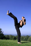Woman practising self defense Royalty Free Stock Images