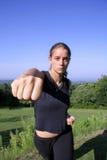 Woman practising self defense Stock Photos