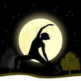 Woman practising yoga at moonlight background. Vector yoga illustration. Poster for yoga class with full moon backdrop Stock Photo