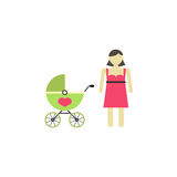 Woman with pram icon. Woman with pram flat icon, mother`s day, mom with stroller vector graphics, a colorful solid pattern on a white background, eps 10 Vector Illustration