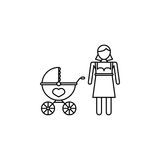Woman with pram icon. Woman with pram line icon, mother`s day, mom with stroller vector graphics, a linear pattern on a white background, eps 10 Vector Illustration