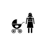 Woman with pram icon. Woman with pram solid icon, mother`s day, mom with stroller vector graphics, a filled pattern on a white background, eps 10 Royalty Free Illustration