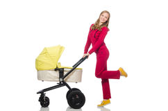 Woman with pram isolated on white Royalty Free Stock Photo