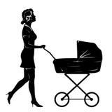 Woman with pram silhouette Stock Image