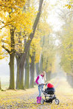 Woman with a pram Royalty Free Stock Images