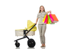 The woman with pram on white Royalty Free Stock Photography