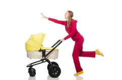 The woman with pram on white Royalty Free Stock Images