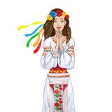 Woman pray clasp hands ukrainian national clothes Royalty Free Stock Photo