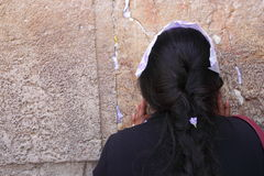 Woman pray near the Wailing Wall Stock Photo