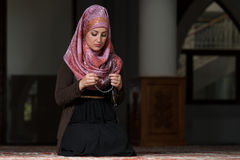 Woman Prayer At Mosque Royalty Free Stock Images
