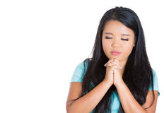Woman praying hoping for the best Royalty Free Stock Images