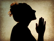 Woman Praying Silhouette Royalty Free Stock Images