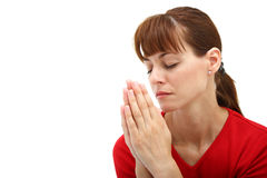 A woman praying to God Stock Image