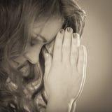 Woman praying to god jesus. Religion faith. Royalty Free Stock Images