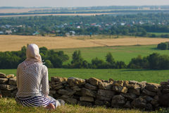 Woman praying. Young muslim woman praying outdoor Royalty Free Stock Photos