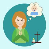 The woman prays for a boy. The woman prays for a child. The figure of a praying woman, picture of a baby, a prayer cross and a burning candle. Vector Royalty Free Stock Images