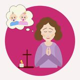 The woman prays for a twins. The woman prays for a child. The figure of a praying woman, picture of a baby, a prayer cross and a burning candle. Vector Royalty Free Stock Images
