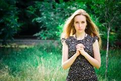 Woman prays Royalty Free Stock Photo