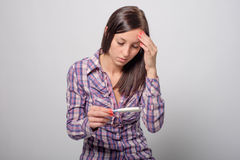 Woman pregnancy test Stock Photo