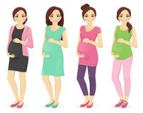 Woman pregnant clothers Stock Photo