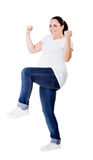 Woman pregnant success gesture Royalty Free Stock Photography
