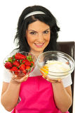 Woman prepare cake with strawberry Royalty Free Stock Images
