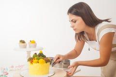 Woman prepare cake stock image